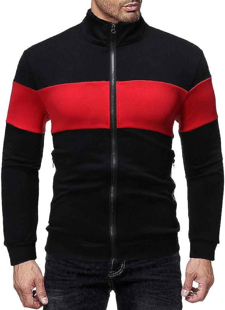 Eoeth Men Full Front Zipper Outwear Jackets Exercise Fitness Slim Fit Patchwork Coat Long Sleeve Sweatshirt Sportswear