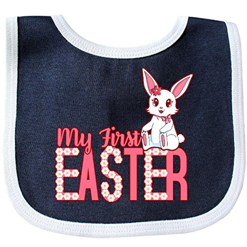 Easter Bib (Inktastic - My First Easter with Bunny and Daisies Baby Bib Navy/White)