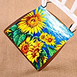 Custom Original oil painting Yellow Sunflowers Seat Cushion Chair Cushion Floor Cushion Twin Sides 16x16 inches