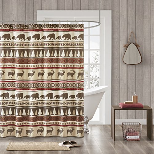Discount JLA Home INC Missoula Pattern Striped Fabric Shower Curtain, Lodge/Cabin Shower Curtains for Bathroom, 72 X 72, Red for cheap