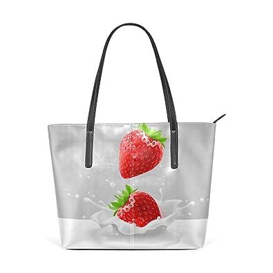 Amazon.com: sunlome Fresa Fruta Leche doble Print bolsa ...