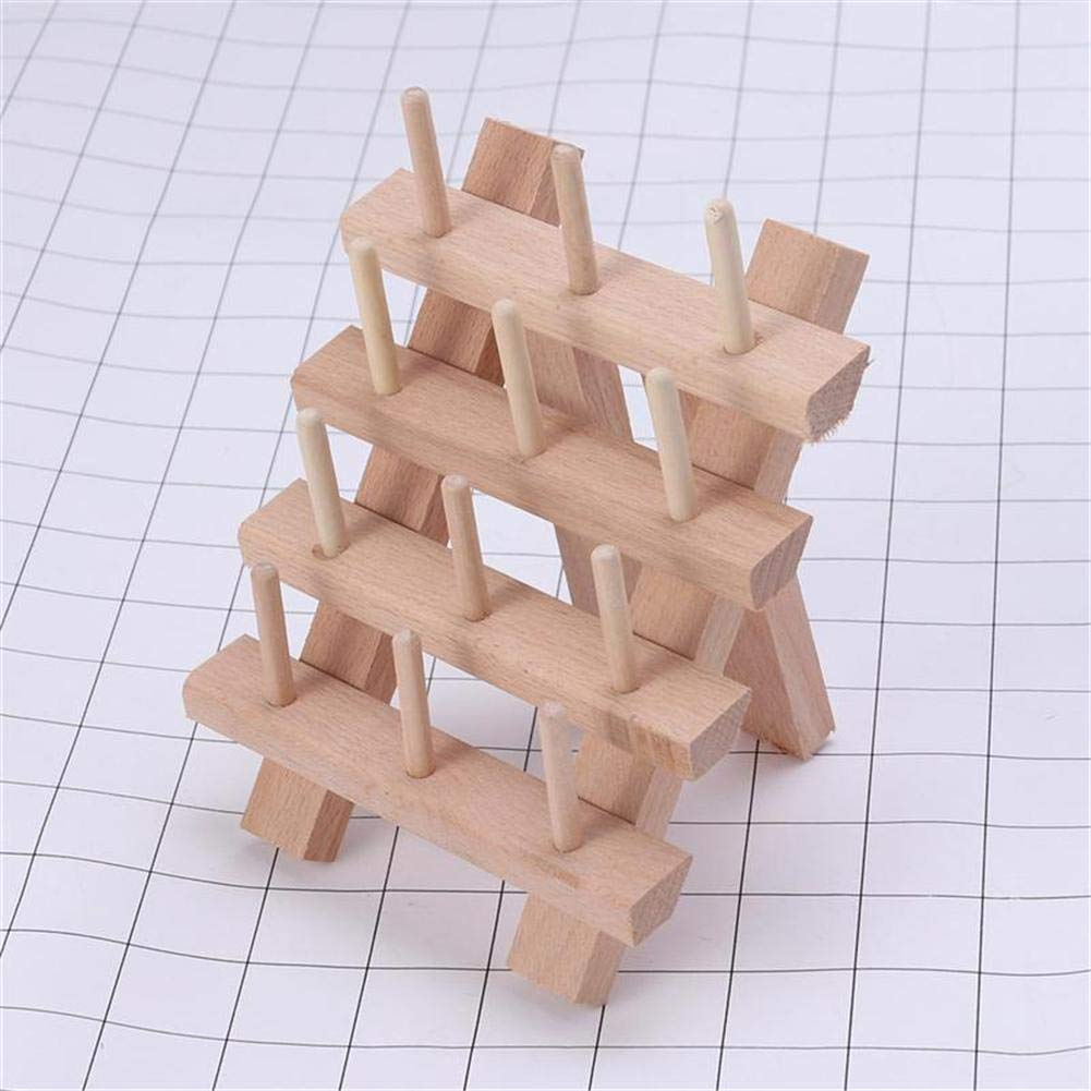 30 Spools Thread Rack Holder,Large Spool Wooden Folded Storage Rack Sewing Quilting Embroidery Bobbin Holder Craft Tools