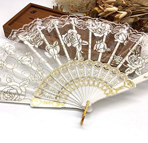 White Luxury Rose Pattern Glitter Floral Lace Hand Fan Party Dance Folding Hand Fan Dance Party Kraft Gifts