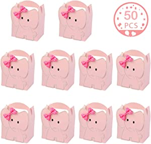 OurWarm 50pcs Cute Elephant Baby Shower Favor Boxes, 3D Large Baby Girl Gift Candy Boxes with Pink Bowtie for Baby Shower Party Supplies Baby Girls Birthday Decorations (Pink)