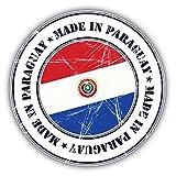 Made In Paraguay Grunge Flag Stamp Art Decor Bumper Sticker 5'' x 5''