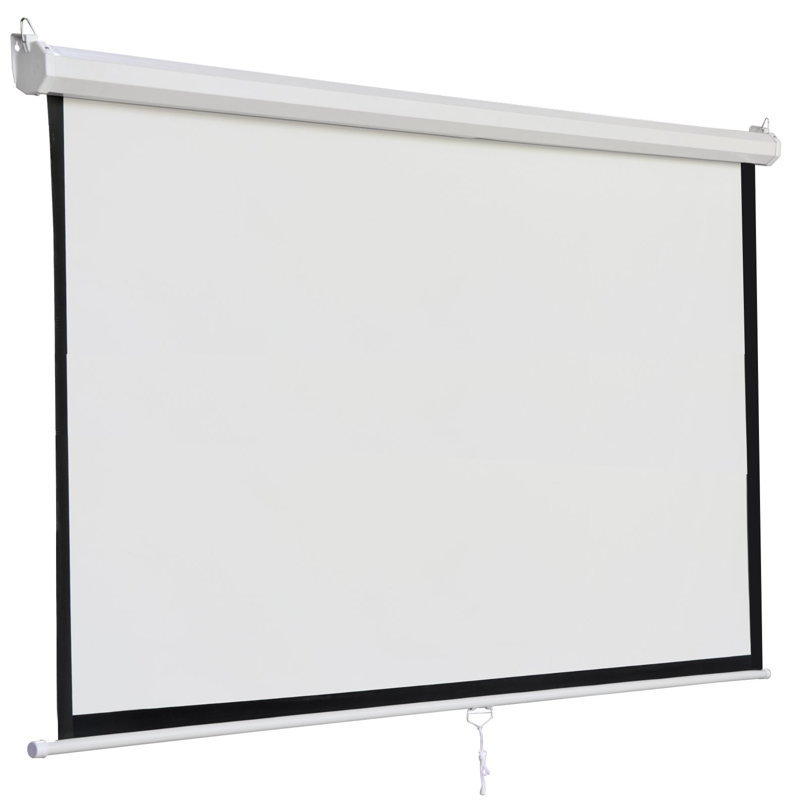 SUPER DEAL 120'' Projector Screen Projection Screen Manual Pull Down HD Screen 1:1 Format for Home Cinema Theater Presentation Education Outdoor Indoor Public Display by SUPER DEAL (Image #3)
