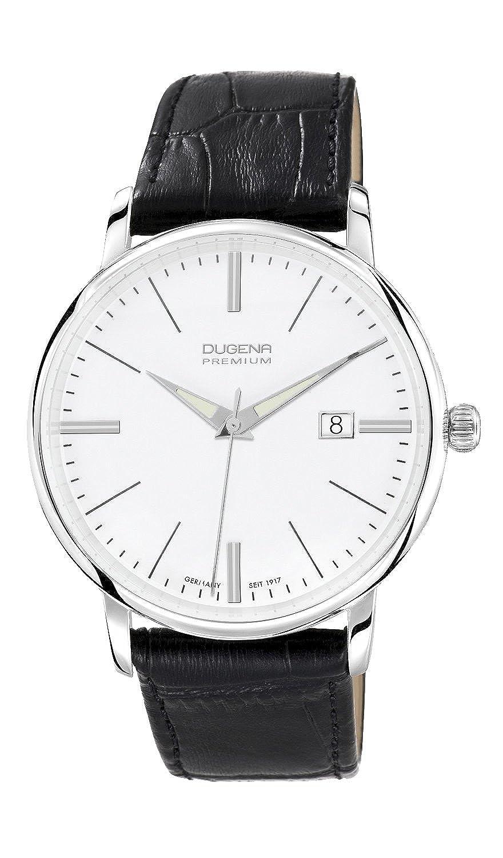 Dugena Premium Festa 7000166 - Reloj analógico de Cuarzo para Hombre, Correa de Cuero Color Negro