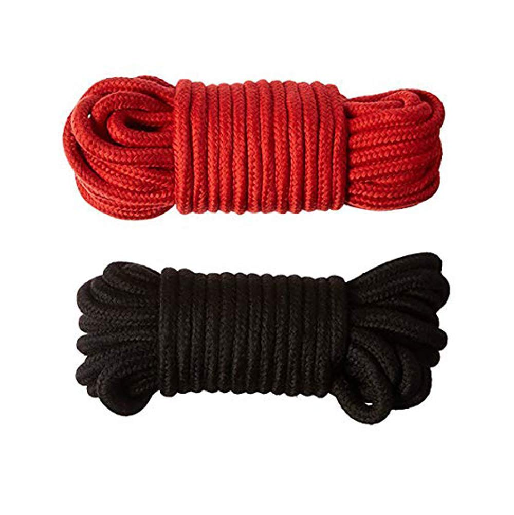 Moonight [Pack of 2/3/4] Long Soft Rope -32-Foot 10m,64-Foot 20m Soft Twisted Cotton Rope Utility Rope(2/3/4pcs, 10M/20M) (10M, Black&Red)
