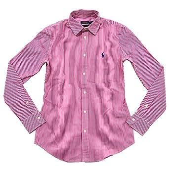 Polo Ralph Lauren Women's Custom Fit Woven Button Up Shirt (6, Pink/White Stripes)