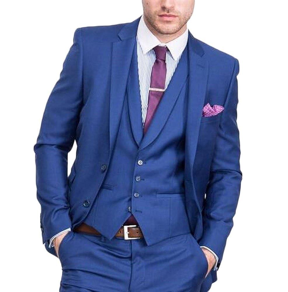 b7f0a285575 Yanlu Royal Blue Wedding Suits 3 Pieces Jacket Pants Vest Men Suit Set at  Amazon Men s Clothing store