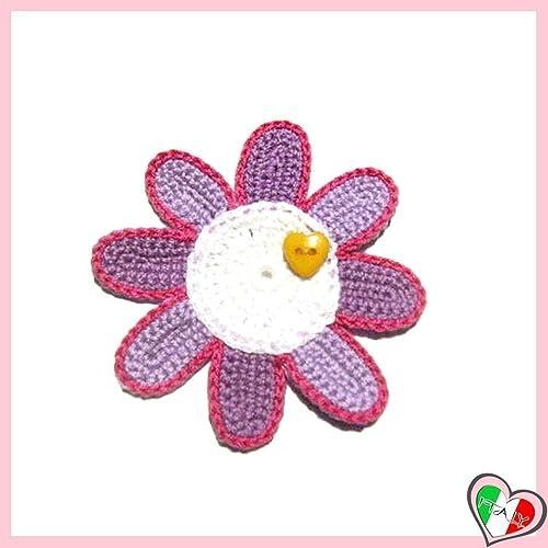 Lila Und Weiß Häkeln Blume Für Applikationen Brosche Oder Magnet