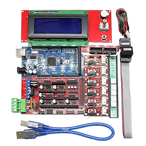 Eiechip CNC 3D Printer Kit for Arduino Mega 2560 R3 + RAMPS 1.4 Controller + LCD 2004 + 6X Limit Switch Endstop + 5 A4988 Stepper Driver 3D Printer Interface & Driver Modules