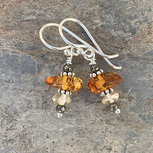Amber Earrings with Citrine, Pyrite and Sterling Silver, 1.25 inch