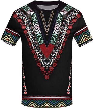 VJGOAL Moda Masculina de Verano Impresión de Estilo étnico Africano Manga Corta Cuello Redondo Top Casual Camiseta de Hombre