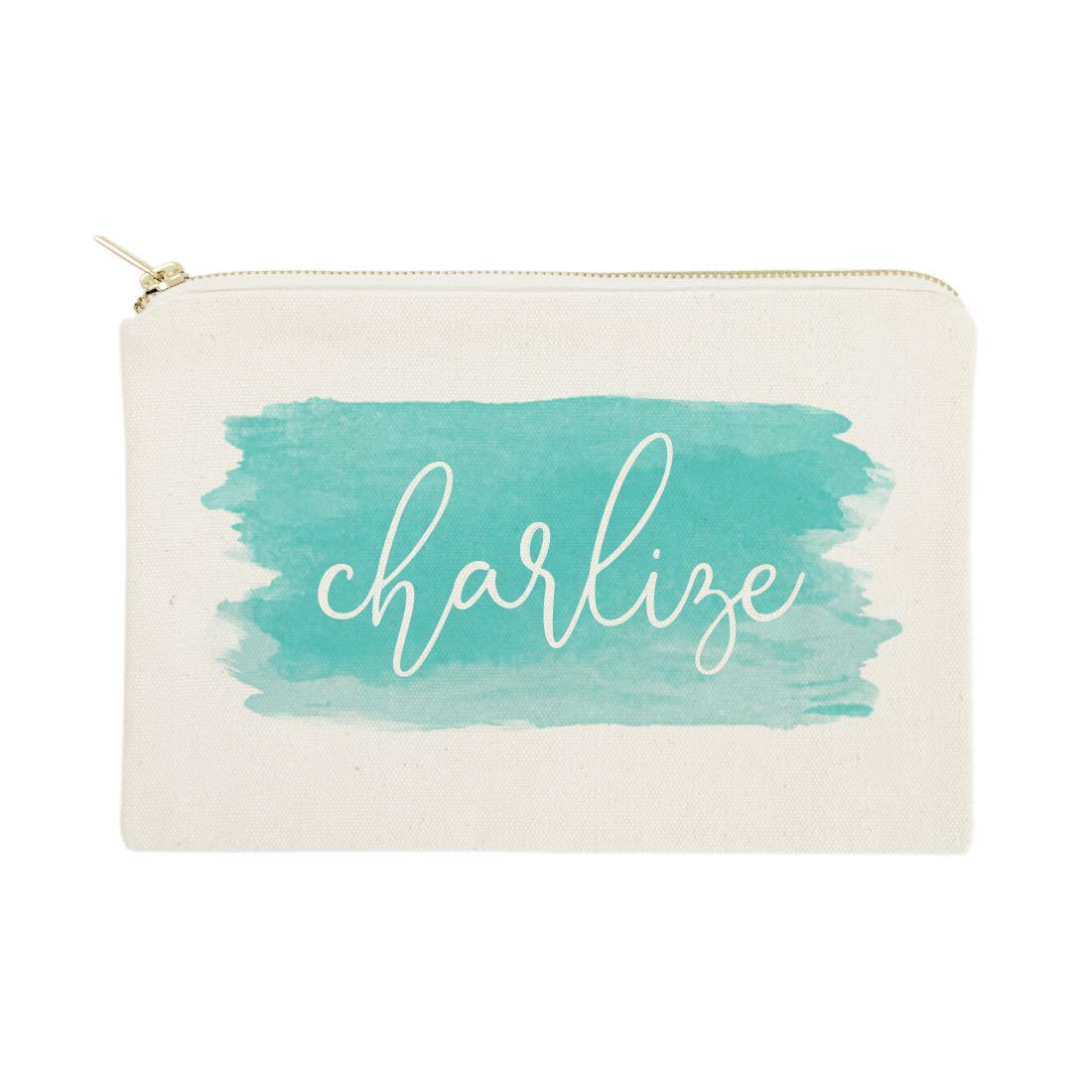 The Cotton & Canvas Co. Personalized Name Aqua Watercolor Cosmetic Bag and Travel Make Up Pouch