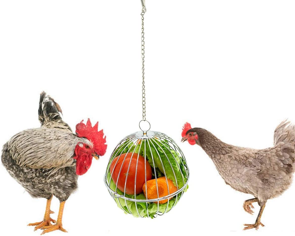 Chicken Treat Ball Chicken Vegetable Feeder Veggie Hanging Ball Toy for Hens Chicken Hanging Foraging Coop Toys for Hens