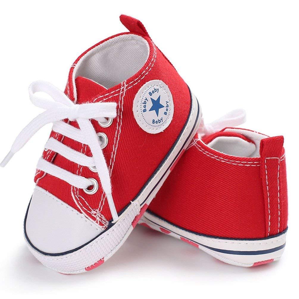TAOHOU Fashion Soft Soled Anti-Slip Infant Canvas Shoes Baby Boys Girls Prewalker Red 13cm