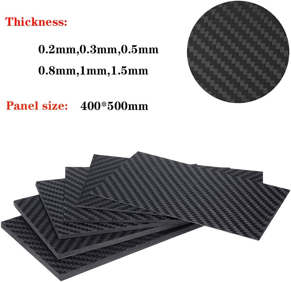Mattes Finish,400x500mm,6mm Twill-Webart 6-20 mm AFuex 3K Carbonfaserplatten Composites Carbon-Platte 1 St/ück Vollcarbon-Dicke