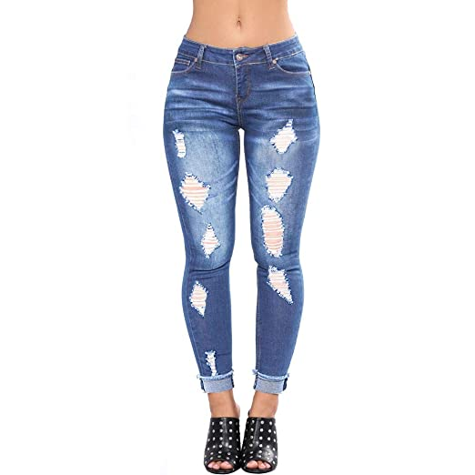 1bf1ef02ab VICVIK Womens Wasited Distressed Ripped Knee Skinny Stretch Jeans Butt Lift  Super Comfy Denim Pants (