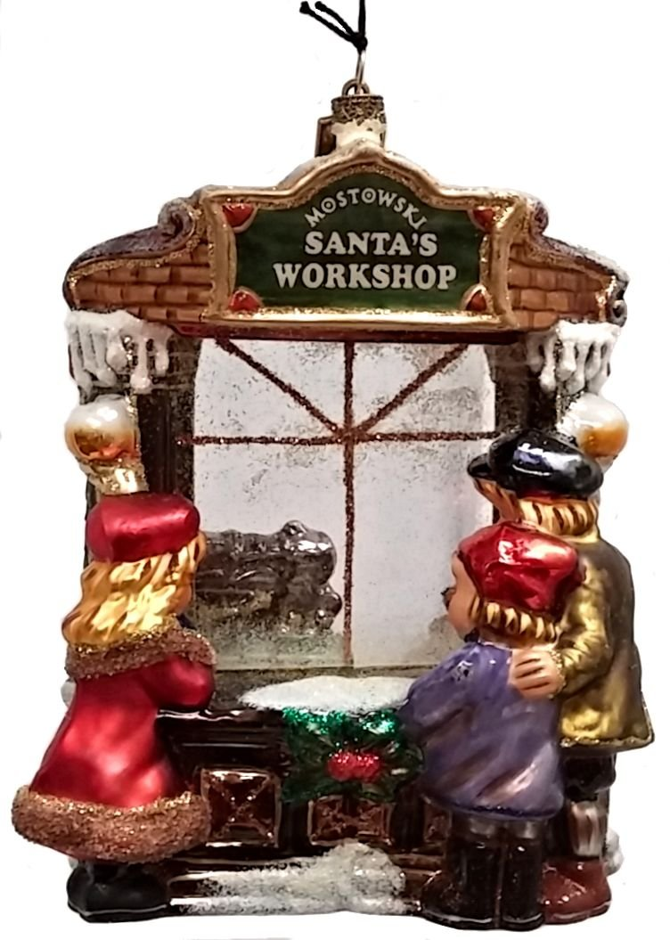 Children Looking into Santa's Workshop Polish Christmas Ornament Decoration