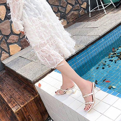Tongs Mules Hauts Boucle Blanc Sandales Ouvert Talons Confort Mode Casual Transparent Femmes Chaussures SOwSrxqP