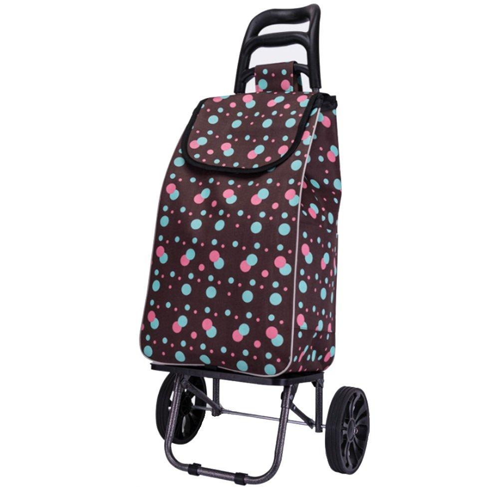 NAN ポータブル大型ショッピングカート椅子付きショッピングカートスモールカート トレーラー (色 : Dark grey dots) B07DZKZCKF Dark grey dots Dark grey dots