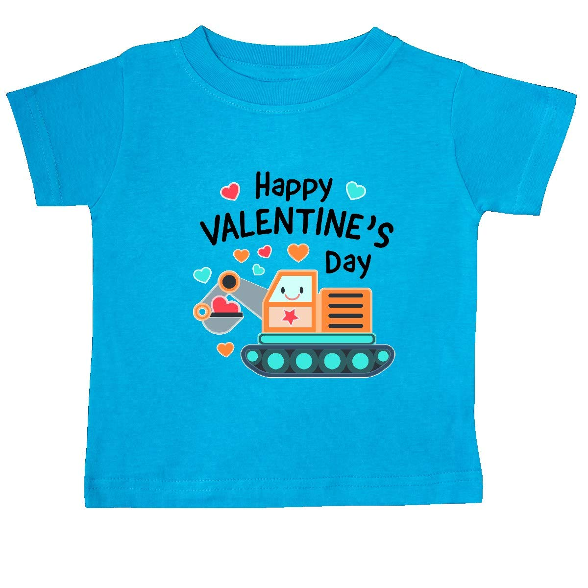 inktastic Happy Valentines Day Steam Shovel Hearts Baby T-Shirt