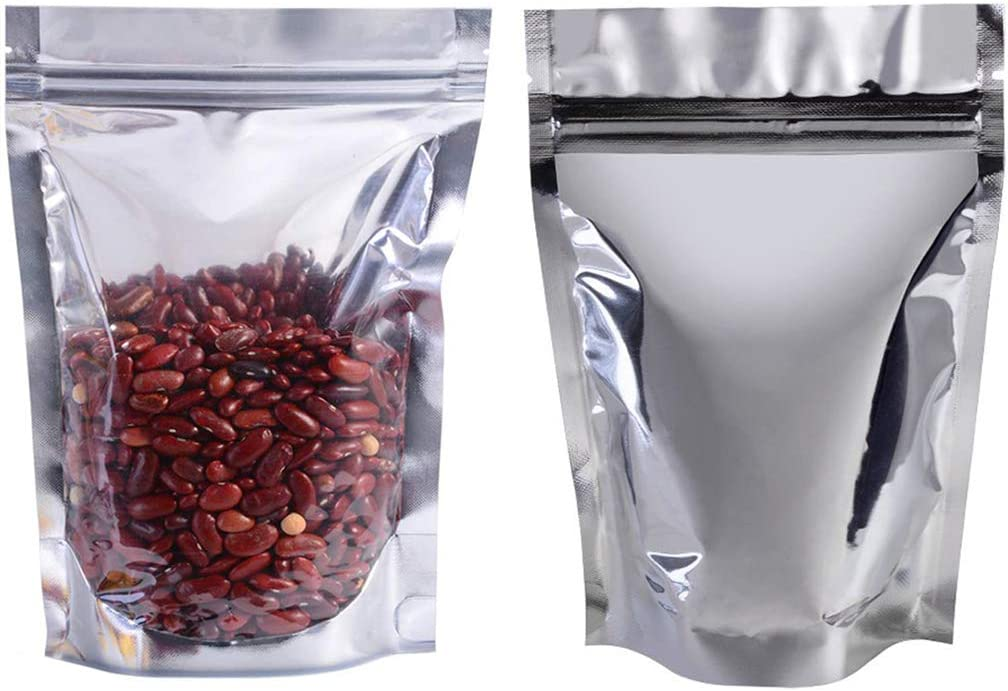 Aluminum Foil pouches 100 Pack Ziplock Bags Pouch Resealable Ziplock Aluminum for Beans Coffee Cookie Snack Food Dried Flowers Tea Food Storage (Translucent Aluminum, 3.9x5.9''(10x15))