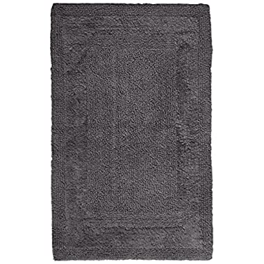 Pinzon Luxury Reversible Cotton Bath Mat - 21 x 34 inch, Platinum