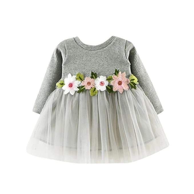 Babykleider,Sannysis Baby Mädchen Festlich Kleid Langarm Prinzessin Party Babykleid Kleider Festzug mit Blumen 6-24Monat