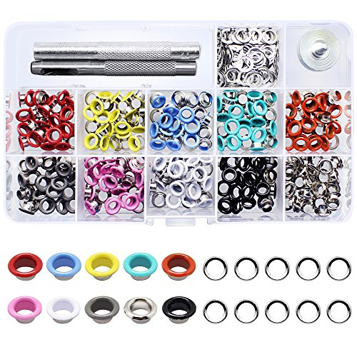 Red Grommets - Yotako 300 pieces Grommet Kit Metal Eyelet Kit for Bag,Clothes Carfts ,3/ 16 Inch 10 Colors