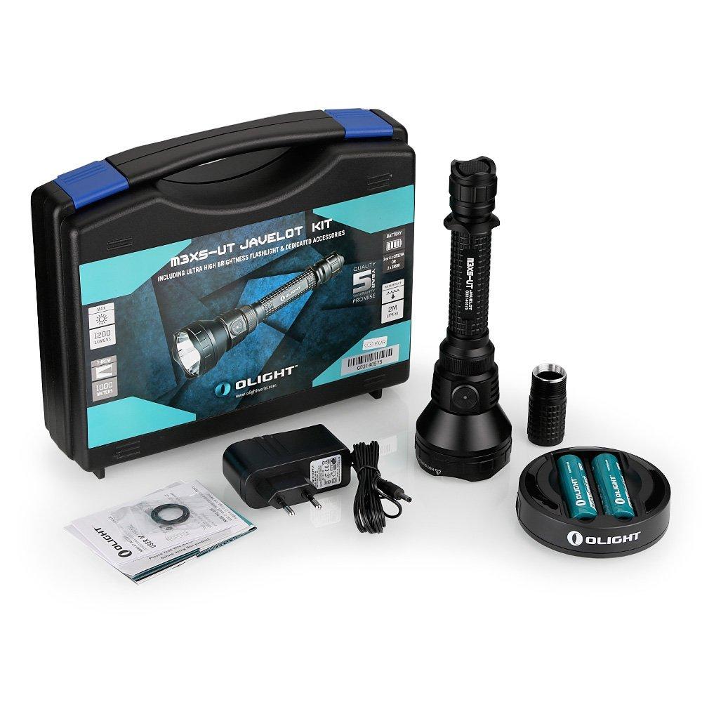 Olight® M3XS-UT Javelot Kit Taschenlampe mit 1200 Lumen Cree XP-L LED Taschenlampe taktisch, Schwarz - Box-Verpackung mit 2 x 18650 3600mAh Batterien Akkus, 1 x Omni Dok Ladegerät und 1 x Verlängerungsrohr