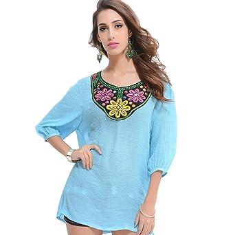 WanYang Manga 3/4 Loose Top Camisa para Mujer Camiseta Moda Casual Blusa Flores de Bordado Shirts Tops: Amazon.es: Ropa y accesorios