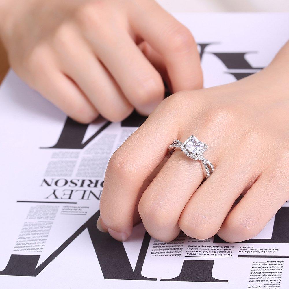 UMODE Vintage Silver 1.25ct Princess Cut Cubic Zirconia Engagement ...