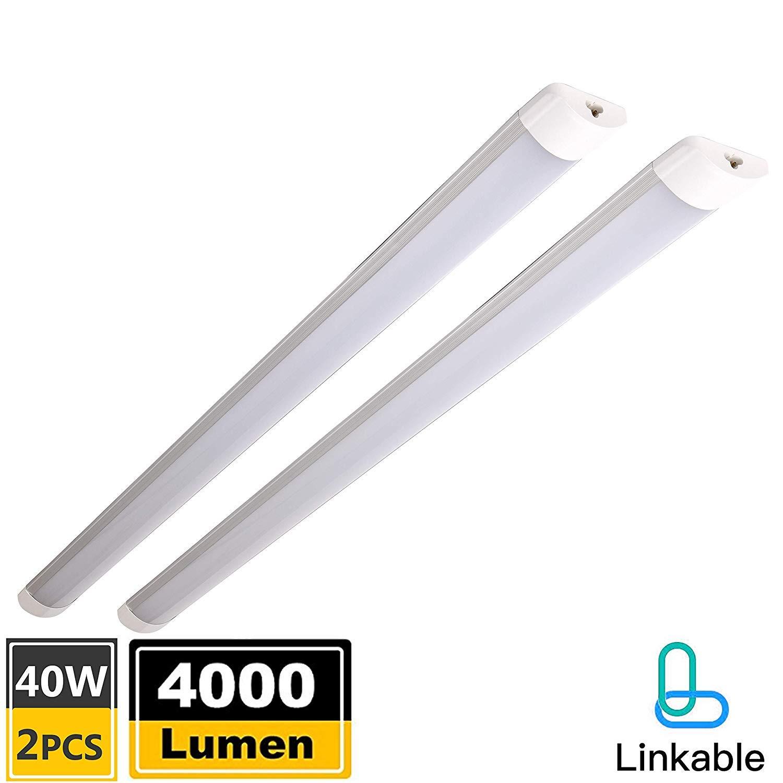 Pack of 2 linkable led shop lights for garage 4 foot with plug40w4000lm6500k daylight white flushmount led utility ceiling lights for