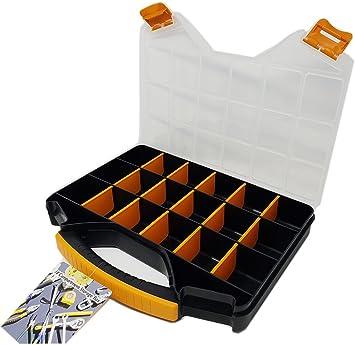 Caja de almacenamiento con separadores | 18 ranuras para herramientas, tornillos, tuercas y pernos compartimiento organizador 13 pulgadas: Amazon.es: Bricolaje y herramientas