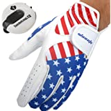 USA Flag Golf Gloves for Men's Left Hand White Soft Leather Breathable Professional Golf Hand Wear with Mini Golf Stroke Coun