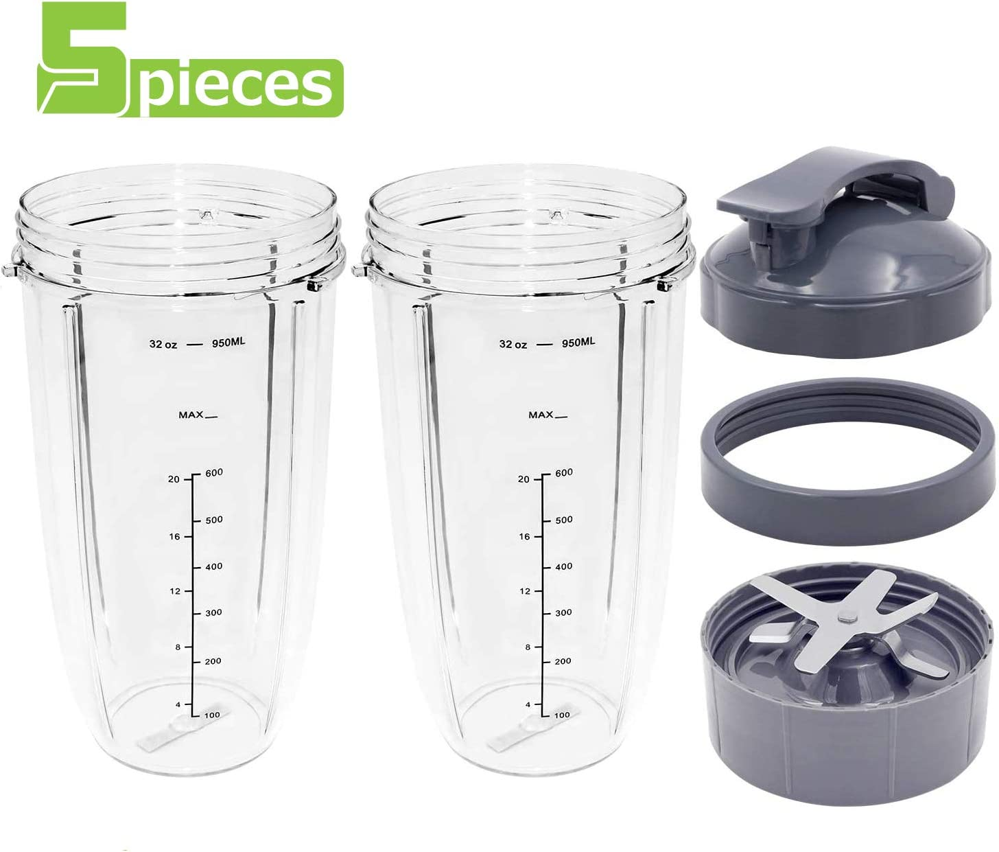 SUPTEMPO Blender Cups and Blade Replacement,2 PCS 32 Oz Cups with 1* Seal Lid & 1* Screw-Off Lip Ring &1* Premium Extractor Blade Compatible with Nutribullet 600W/900W Models[5 Pieces]