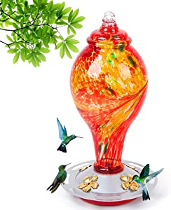Hummingbird feeders for Outdoors, 36 Ounces Nectar Capacity Hummingbird Feeder with Upgraded Round Stand and 4 Feeding Ports, Handmade Glass Wild Bird feeders for Outdoors Hanging in Garden, Yard