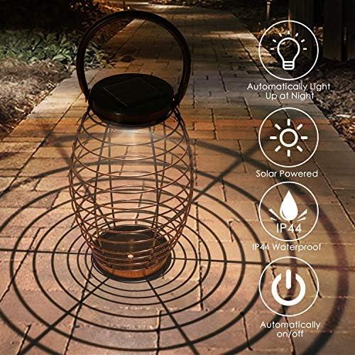 LED Solarleuchte Garten, Tencoz Edelstahl Solarlampe Laterne Außenleuchte IP44 Wasserdichte Solar Lampen für Außen Terrasse Rasen Garten Hinterhöfe Wege (Tape-1)