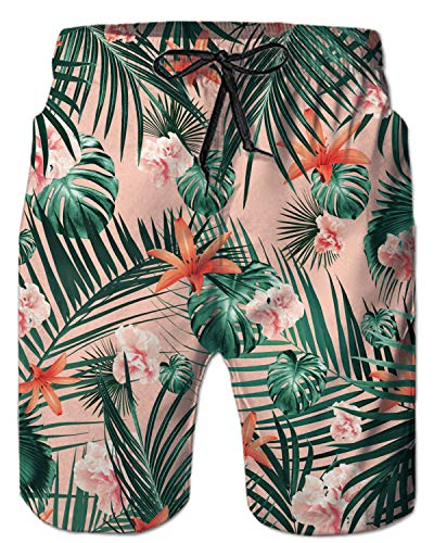 TUONROAD Men's Funny Stylish 3D Floral Prints Novelty Bathing Suit Beach Shorts Big and Tall Cute Pink Flowers Leaves Short Swim Trunks Guys Hot Pattern Tropical Hawaii Modest Beach Shorts