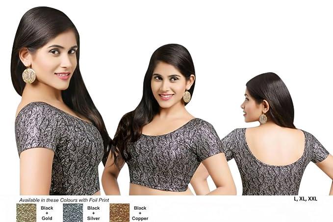 7163614fe5b60 Maroon Colour Printed Stretchable Lycra Cotton Ready-made Saree Blouse Sari  Choli Crop SHRI BALAJI