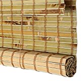 Roll Up Blind Bamboo Curtain Carbon Burning Rolling Shutter Shading Waterproof Mildew Indoor Cut Off Tea Room Balcony Outdoor Original Ecology Bamboo Environmental Protection Will Not Fade