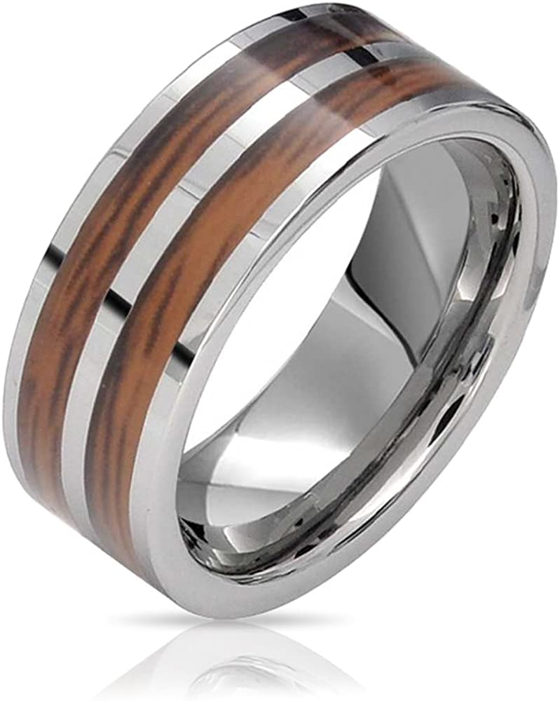 Bling Jewelry Double Row Wide Stripe Brown Koa Wood Inlay Titanium Wedding Band RingsforMen for Women Silver Tone Comfort Fit 8MM