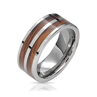 Bling Jewelry Double Wood and Tungsten Wedding Band Amazoncom