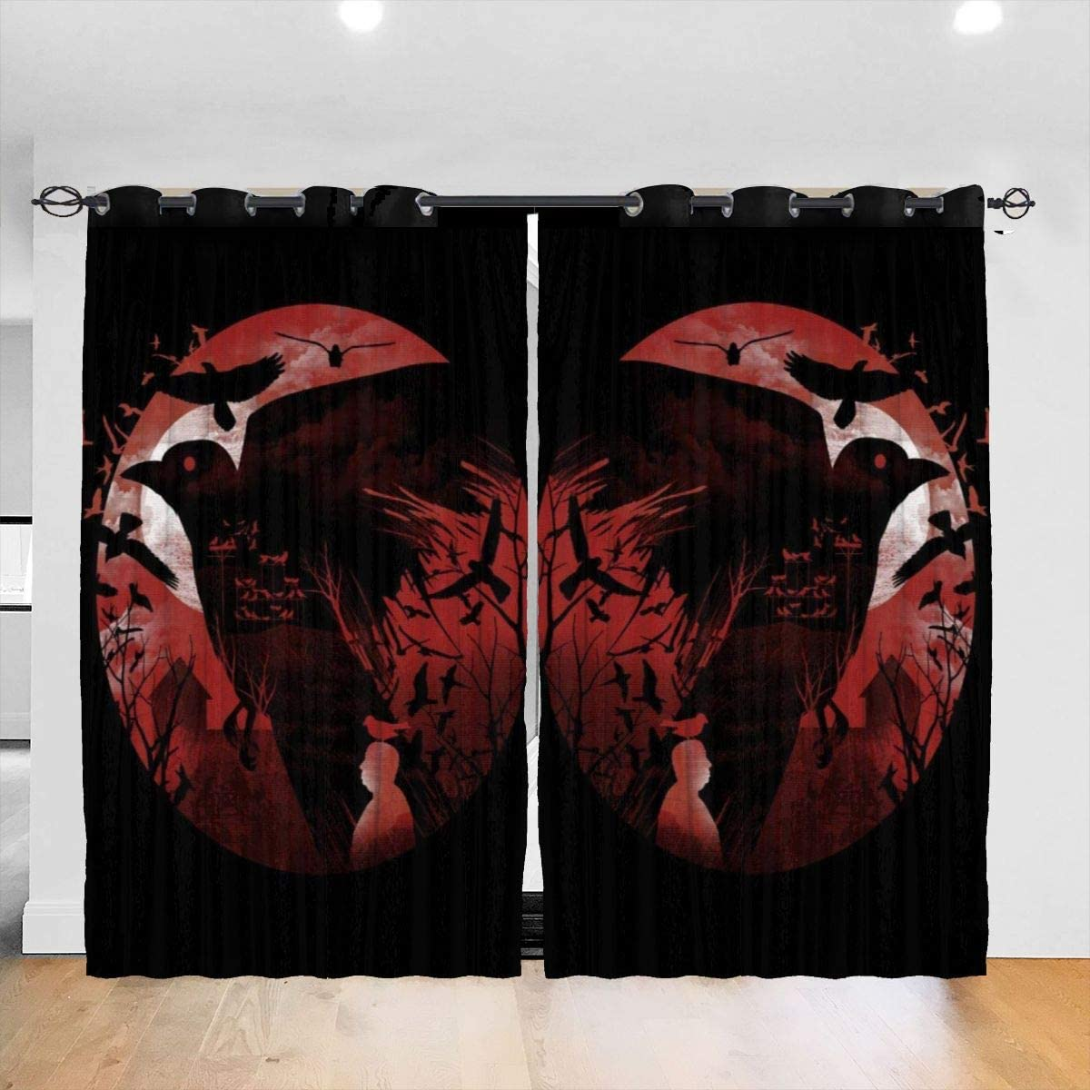 FDASLJ Customized Blackout Window Curtains Alfred Hitchcock Silhouette The Birds Grommet Thermal Insulated Room Darkening Drape for Bedroom Living Room 52 X 72 Inch, 2 Panels