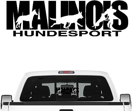 Siviwonder Malinois Hundesport Auto Aufkleber Hund Folie Belgian Mali Schäferhund Farbe Schwarz Größe 30cm Auto