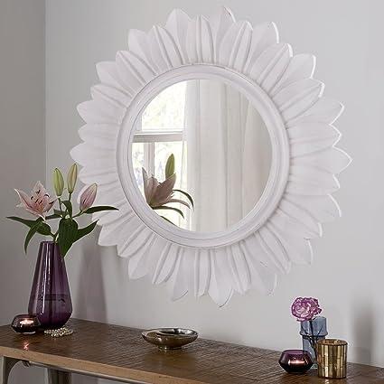 Homesake Sunburst Decorative Wooden Handcarved Wall Mirror, Classic White