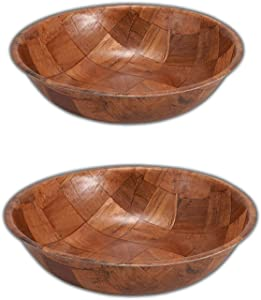 Wooden Salad Bowl Set of 4 Includes - 10 and 12 Inch Wooden Bowls 2 of Each Size. Great for Fruit, Food, Salads and Serving Bowls.