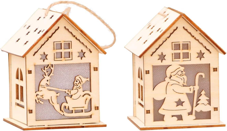 2 Christmas Packs Mini LED Light Wood House Christmas Ornaments Kits, Family DIY Art & Craft Decorations Project - Colorful Flashing Lights